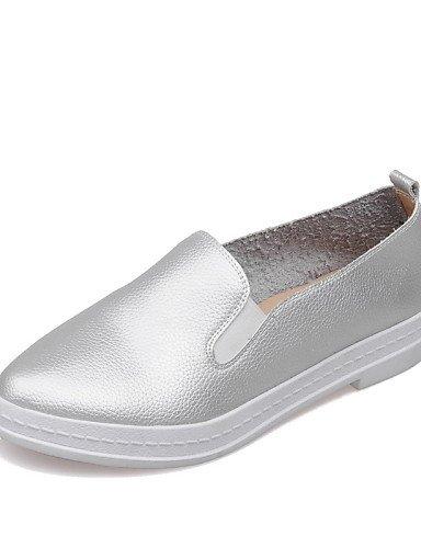 ZQ gyht Zapatos de mujer-Tacón Plano-Comfort-Mocasines-Exterior / Oficina y Trabajo-Semicuero-Negro / Blanco / Plata , silver-us8 / eu39 / uk6 / cn39 , silver-us8 / eu39 / uk6 / cn39 white-us6.5-7 / eu37 / uk4.5-5 / cn37
