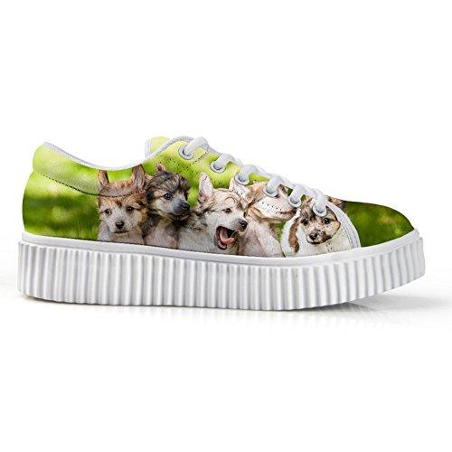 Bigcardesigns Schattige Honden Ontwerp Casual Lage Top Sneaker Lace-up Skate Schoen Meisjes Dog1