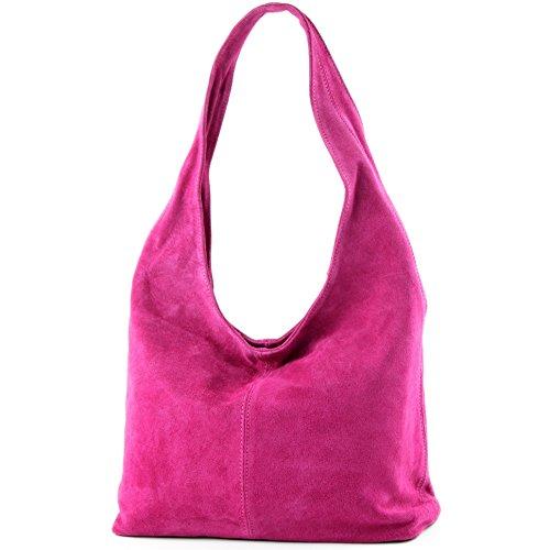 Pink hombro T150 Damentasche hombro Bolso de Wildleder ital modamoda de de cuero de Bolso Bolso qv11w6