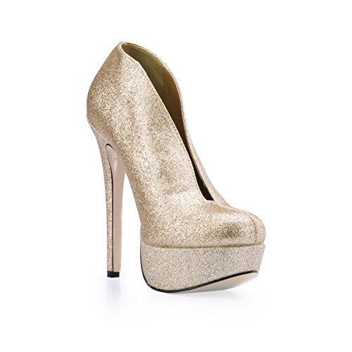 Ankle Heels Stiletto Sole Golden High Shoes 4U Round Rubber Best Bling 14CM Boots Glitter Toe Women's gEpxP8