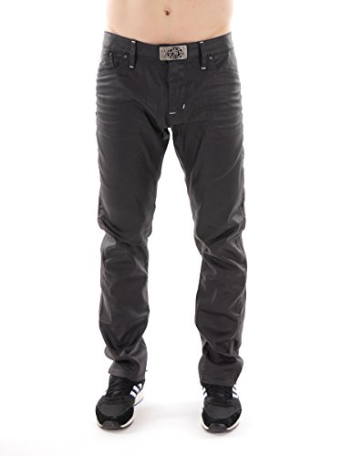 Freesoul Jeans Lederhose York Buckle braun Gürtelschnalle 5-Pocket York Buckle 2541