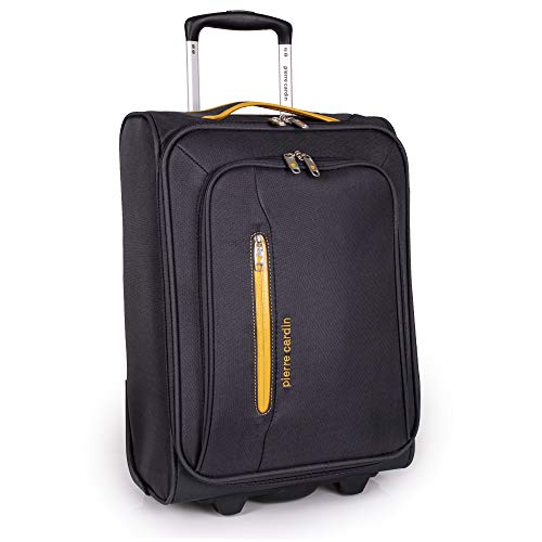 Soft Sided 50cm Suitcase with Wheels - KLM Flybe Emirates Cabin Approved Under 55x40x20 Luggage by Pierre Cardin | TUI Thomas Cook Soft Shell Bag | Light 1.9kg 20' 22L (Carry On, Grey & Orange)