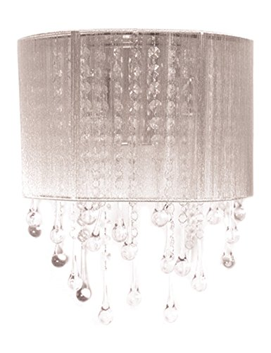 Beverly Drive Collection Silver Silk String And Crystal Wal Sconce