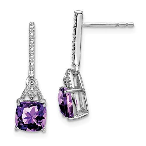 Diamond Purple Amethyst Post Stud Earrings Drop Dangle Fine Jewelry For Women Gift Set ()