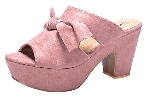 Nature Breeze Women's Knot Peep Toe Platform Chunky Stacked Heel Mule Sandal (Platform 8 Mule)