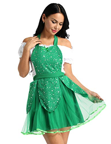 YiZYiF Womens Aprons Home Cooking Work Wear Retro Kitchen Dress Christmas Halloween Tinkerbell Tutu One Size