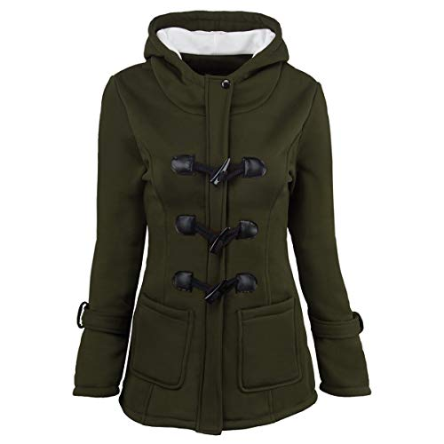 ZFFde Invierno Abrigo de abrigo de invierno con capucha y hebilla de cuerno (Color : Green, tamaño : 3XL)