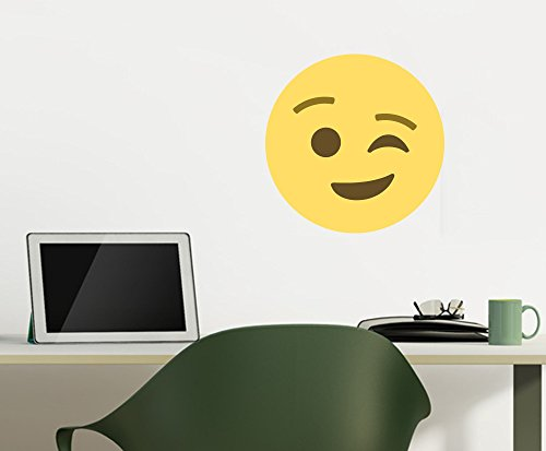 Winking Face Emoji Wall Decals For Kids Rooms - 12 in x 12 in