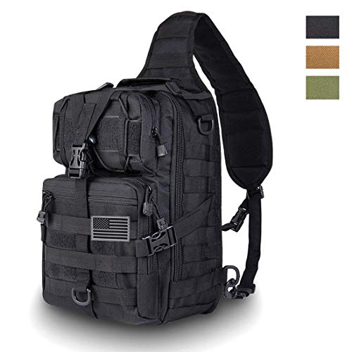 HAOMUK Tactical Sling Bag Pack Military Rover Shoulder Sling Backpack EDC Molle Assault Range Bag Everyday Out Carry Diaper Bag Carry Bag Small (Best Tactical Sling Pack)