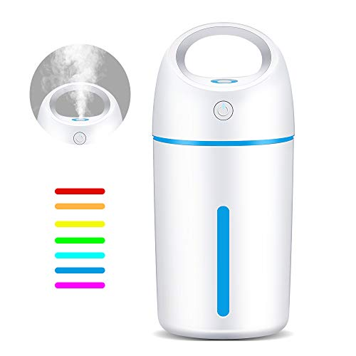 VillSure Portable Mini USB Humidifier, Cool Mist Humidifier for Car Travel Office Desk Bedroom, 280ml Small Humidifier with Whisper-Quiet Operation, Automatic Shut-Off and Night Light Function