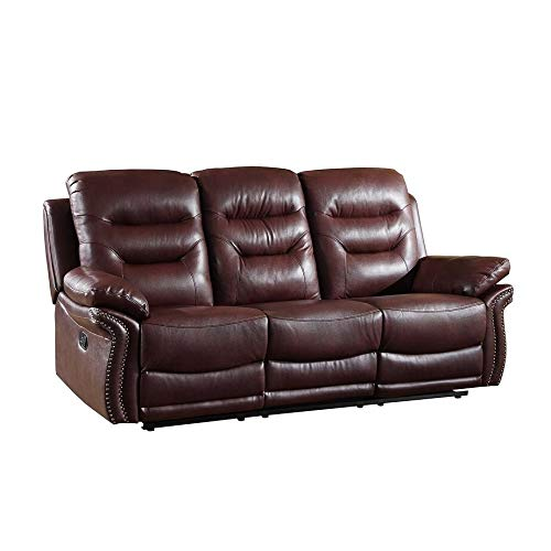 Blackjack Furniture 9392-BURGUNDY-S The Andrews Collection Reclining Living Room Leather Sofa, Burgundy