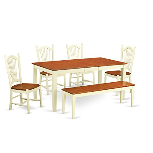 East West Furniture NIDO6-WHI-W 6 Piece Dinette Table and 4 Kitchen Chairs Set plus One Bench