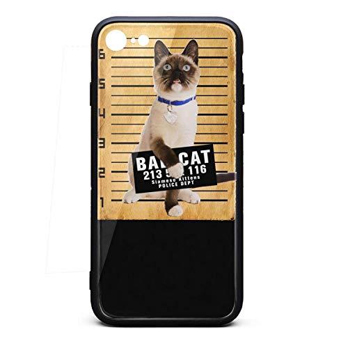 ZaiyuXio iPhone 8 Case, iPhone 7 Case Siamese cat Mug Tempered Glass Back Cover Scratch-Resistant Anti-Slip Soft TPU Frame for iPhone 8 / iPhone 7