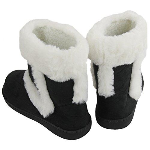 Gohom Womens Faux Fur Black Fringes Indoor Slipper Boots Comate Black nC01Id