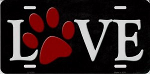 Smart Blonde Love With Red Paw Print Metal license Plate