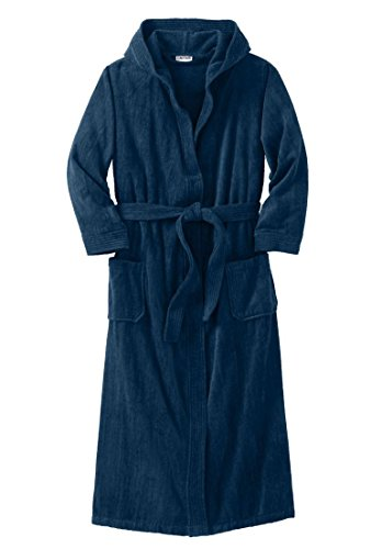 Kingsize Men's Big & Tall Terry Velour Hooded Maxi Robe, Navy Tall-L/X