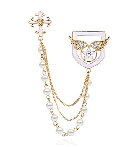 Pearl Cross Ornament (Micrkrowen Cross - Angel Wings Brooch Pearl Tassels Chain Corsage)