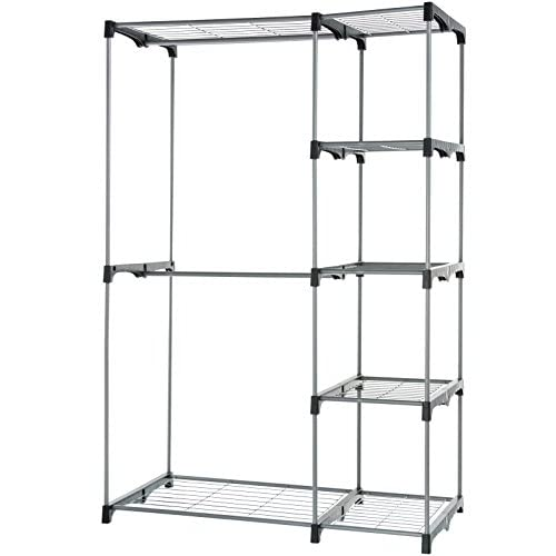 AmazonBasics Double Rod Freestanding Closet Silver