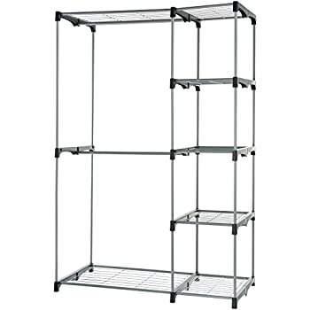 AmazonBasics Double Rod Freestanding Closet, Silver