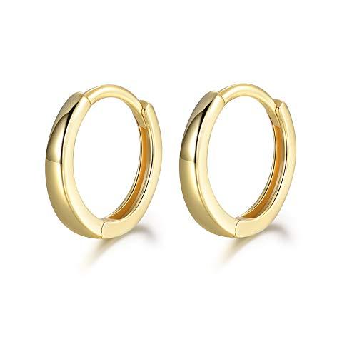 - MASOP Sterling Silver 14K Gold Plated Hypoallergenic Cuff Earrings Small Hoop Huggie Earrings Stud for Cartilage 13mm