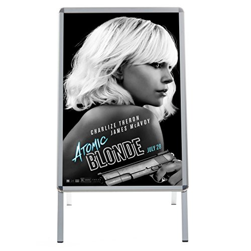 Silver Sidewalk Sign A Board 24x36 Inches, Double-sided Water-Resistant Quick Change Snap Frame, 1.25