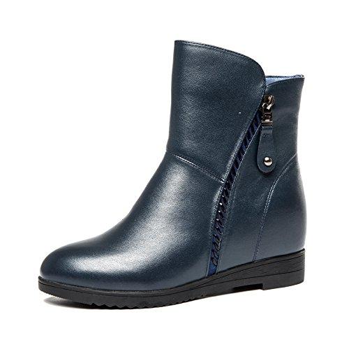 Aemember zapatos de mujer y botas de cremallera en otoño y en invierno, el ocio, el aumento de la proporción de mujeres botas zapatos de algodón de cabeza redonda ,35, azul