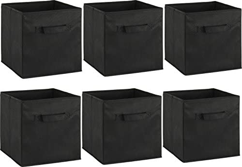 home, kitchen, storage, organization, baskets, bins, containers,  open storage bins 1 on sale 6 Pack - SimpleHouseware Foldable Cube Storage Bin, Black in USA