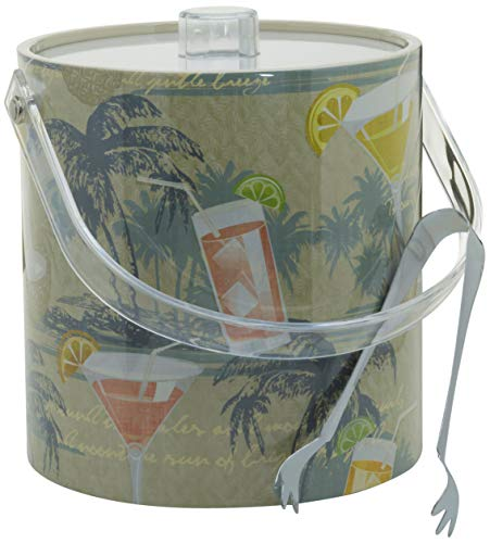 (Hand Made In USA Vintage Tropical Design Double Walled 3-Quart Insulated Ice Bucket With Bonus Ice Tongs )