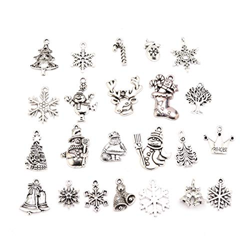 (Forise Christmas Alloy Charms Pendant Mixed 23 Different Designs with Christmas Tree Snowflakes Deer Bell Stocking Charms Christmas Crafts for DIY Jewelry Making Bracelet Neck (Silver-Christmas))