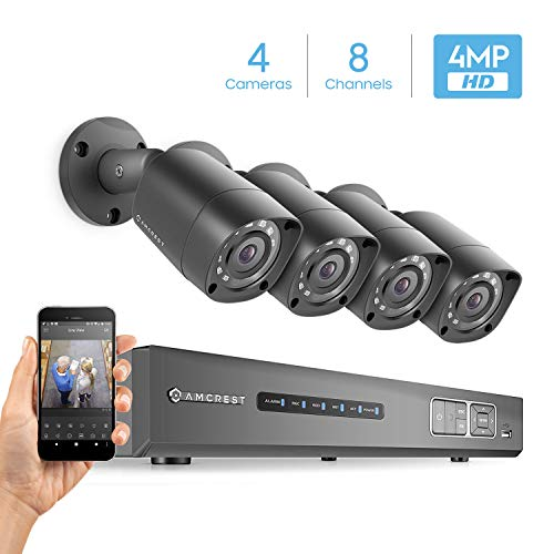 Amcrest UltraHD 4MP 8CH Video Security System – Four 4MP Weatherproof IP67 Bullet Cameras, 98ft IR LED Night Vision, Hard Drive Not Included, HD Over Analog/BNC, Smartphone View (Black)