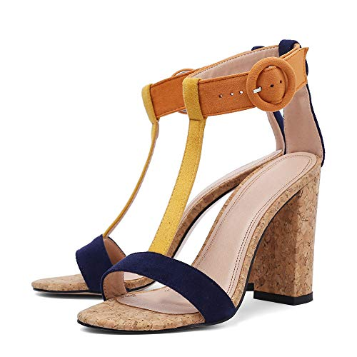 Women's Summer T-Shaped Wood-Tone Buckle Block Suede Open Toe Heel Pump Sandals Yellow Sise US 5.5
