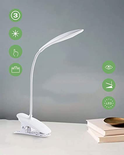 Lampada Libro 20 LED con Clip,Lampada daTavolo,3 Livelli di Luminosità,Collo Flessibile, Lampada Portatile USB Ricaricabile da Scrivania,Lampada da