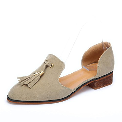 vermers Hot Sale Women Autumn Shoes Ladies Fashion Ankle Solid Tassels Leather Romon Single Shoes(US:6, Khaki) by vermers