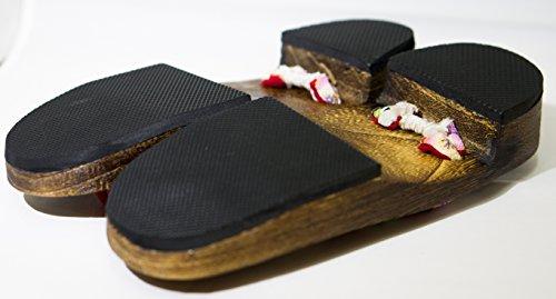 Realizzato Kiku giappone 5cm Calzature Sandali Taglia 24 Geta Legno asanoha M Tradizionale Paulownia Cp HOqnw5aRH