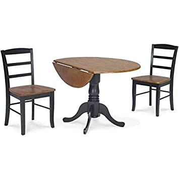 Terrific Amazon Com Wood Dual Drop Leaf Round Table With 2 Chairs Ncnpc Chair Design For Home Ncnpcorg