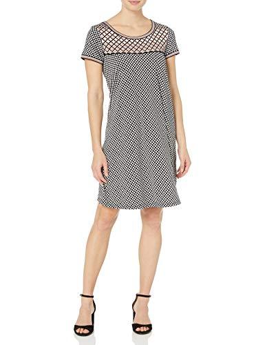 Amazon Brand - Lark & Ro Women's Short Sleeve Scoop Neck T-Shirt Dress, Black/Blush Dot, Small