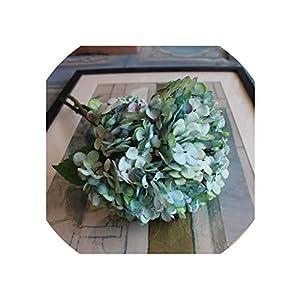 Artificial Flowers 1Bunch/3Pcs Fake Snowball Hydrangea Bouquet Wedding Arrangement Home Decoration,Light Blue 34