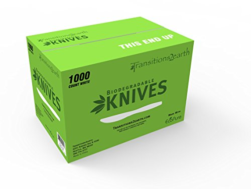(Transitions2earth Biodegradable EcoPure Economy Lightweight Knives - Box of 1000 - Plant a Tree with Each Item)