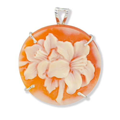 Round Floral Cameo Pendant/Brooch - Floral Cornelian Shell Cameo Pendant 25mm