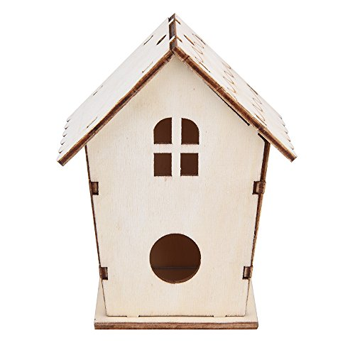 (Leslily Wooden Bird House, DIY Nest DOX Nest House Bird House Bird House Bird Box Bird Box Wooden Box - Two Holes Bird Friendly House for Outdoors Tree Hanging and Indoors Natural Birdhouse(Khaki ))