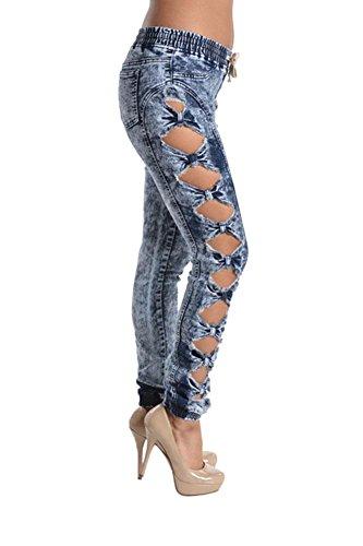 Women's Acid Wash Denim Jogger Pants