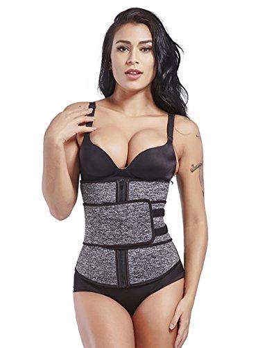 FeelinGirl Neoprene Sweat Waist Trainer Slimming for Women Weight Loss with Adjustable Waist Shaper Belt 2XL Grey