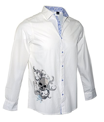 Men's Long Sleeve Guitar n Skulls Embroidered Button up Fashion Shirt White RRMW701W (XL) -