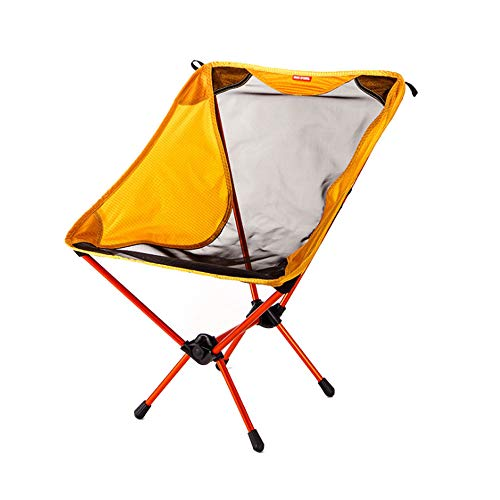 (SXHY BEAR SYMBOL new outdoor folding chair 7075 air aluminum camping barbecue ultra-light portable simple chair 63*51*34/Yellow)
