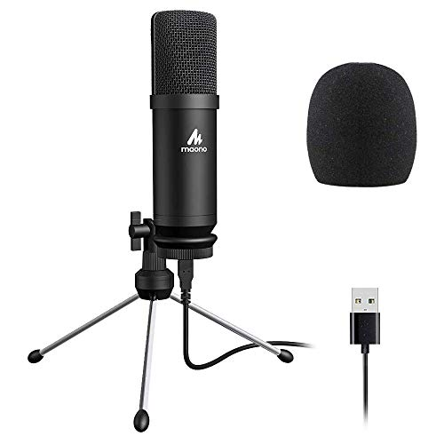 Maono AU-A04TR USB Condenser Cardioid Microphone Kit with Tripod for Podcast, PC, Gaming, Recording, YouTube, Vlogging