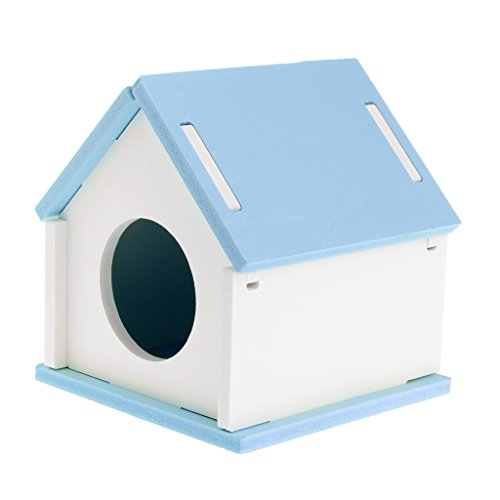 Yumian Hamster House Cage, Wood Bed Small Animal Pet Guinea Pig Squirrel Gerbil Nest Toy Playground (Blue)