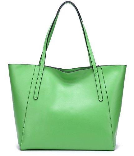 Handbag Green Casual (22 Colors! Women's Large Cow Leather Fashinable Tote Lady's Casual Shoulder Bag Stylish Work Handbag (Matt Grass Green))