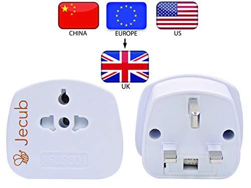 Jecub UK Visitor Adaptor - USA/Europe/China/Australia To 3 Pin UK Adapter Plug. [American to UK Adapter/EU to UK adapter] Perfect if you need a European to UK Plug Adaptor or USA to UK Plug Adapter!