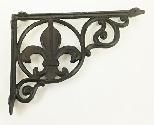 Aunt Chris' Products - Heavy Cast Iron - All-Purpose - Fluer-De-Lis Shelf Bracket - Bronze Rustic Color Finish - Nautical Design - Indoor or Outdoor Use