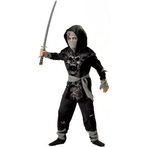 InCharacter Costumes, LLC Boys 8-20 Dark Zombie Ninja Tabard Set, Black/Grey, Size 8